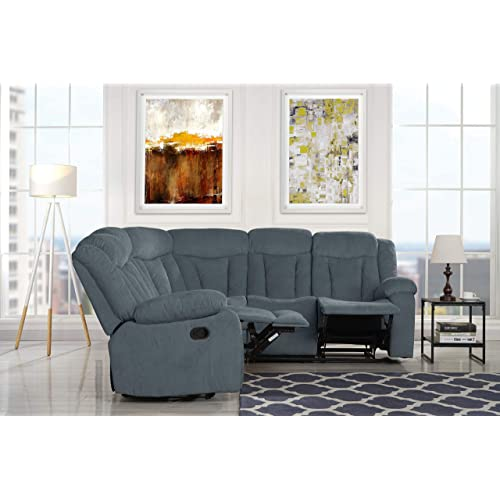 "Upholstered 88.1"" inch Fabric Recliner Sectional Sofa (Grey)"
