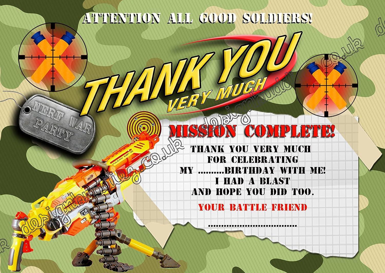 Nerf pistola/Nerf Guerra/Ejército fiesta de cumpleaños tarjetas de agradecimiento para niños Pack de 10 + Sobres DS2: Amazon.es: Hogar