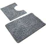 VDOMUS Microfiber Bathroom Contour Rugs Combo, Set of 2 Soft Shaggy Non Slip Bath Shower Mat and U-Shaped Toilet Floor…