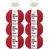 100% lana cotone in 12 colori - 300 grammi Set (6 x 50g) - Öko Tex 100 certificata - filo cotone per uncinetto e lavori a maglia - Gomitoli lana - rosso