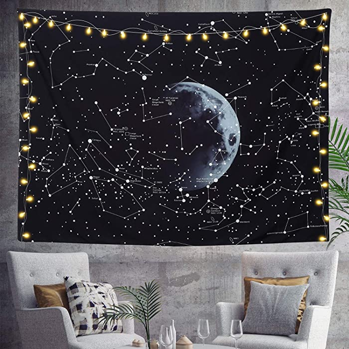 HOMKUMY Black White Wall Tapestry, Moon Constellations Bohemian Hippie Tapestry Psychedelic Wall Hanging Tapestry for Home Decor Bedroom Living Room, Medium 59x51 Inches