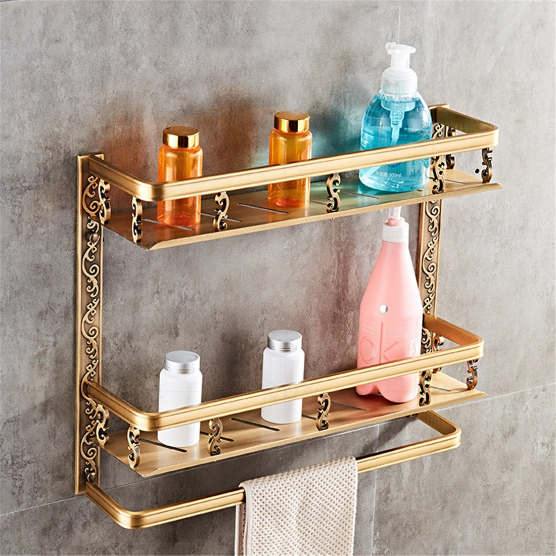 LAONA European style antique copper aluminum bathroom fittings, toilet paper frame, towel ring,Rack 2