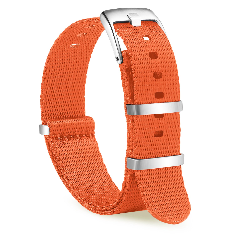 ollrearナイロン時計ストラップ交換キャンバス編みファブリック時計バンド15色& 2サイズ – 20 mm、22 mm 20mm オレンジ 20mm|オレンジ オレンジ 20mm B07D8W64ZK