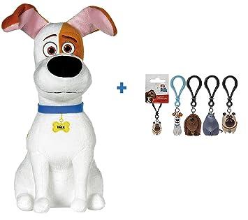 MASCOTAS (Secret Life Of Pets): Peluche MAX, perro blanco con manchas marrones