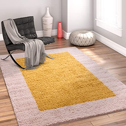 Well Woven Madison Cozumel Modern Border Gold Shag Thick Area Rug 3 3 x 5 3