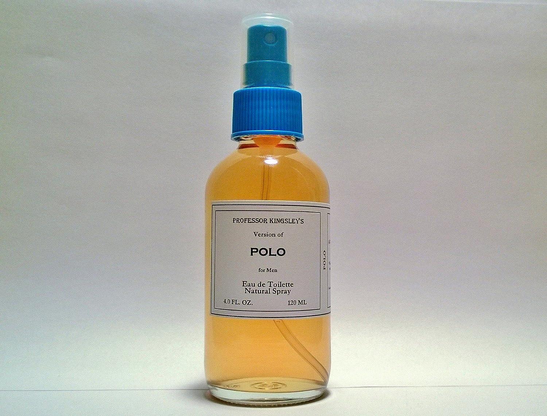 Professor Kingsley's Impression of Polo for Men. EDT Natural Spray. Fragrance 18% by Vol. (4.0 oz EDT Natural Spray)