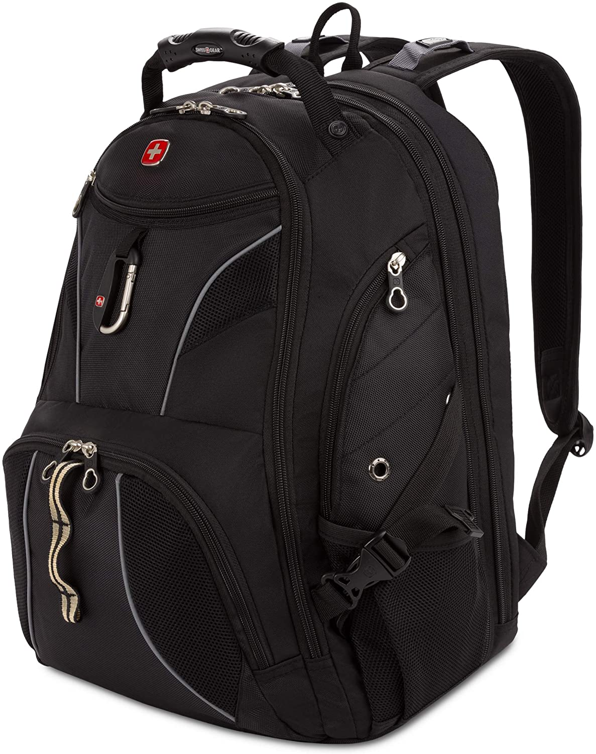 SWISSGEAR SA1923B BLACK/SILVER TSA Friendly ScanSmart Laptop Backpack - Fits Most 15 Inch Laptops and Tablets
