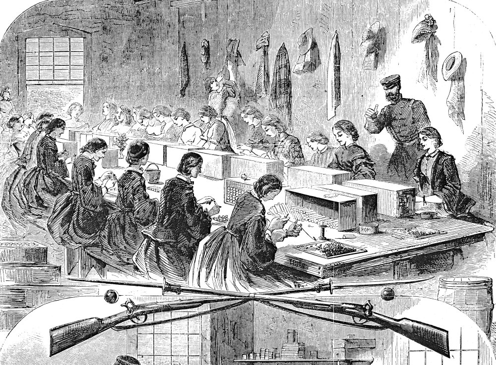 24 x 36 Union Arsenal 1861 Nwomen Workers Filling Cartridges At The US Arsenal At Watertown Massachusetts During The American Civil War Wood Engraving 1861 After Winslow Homer Poster Print by