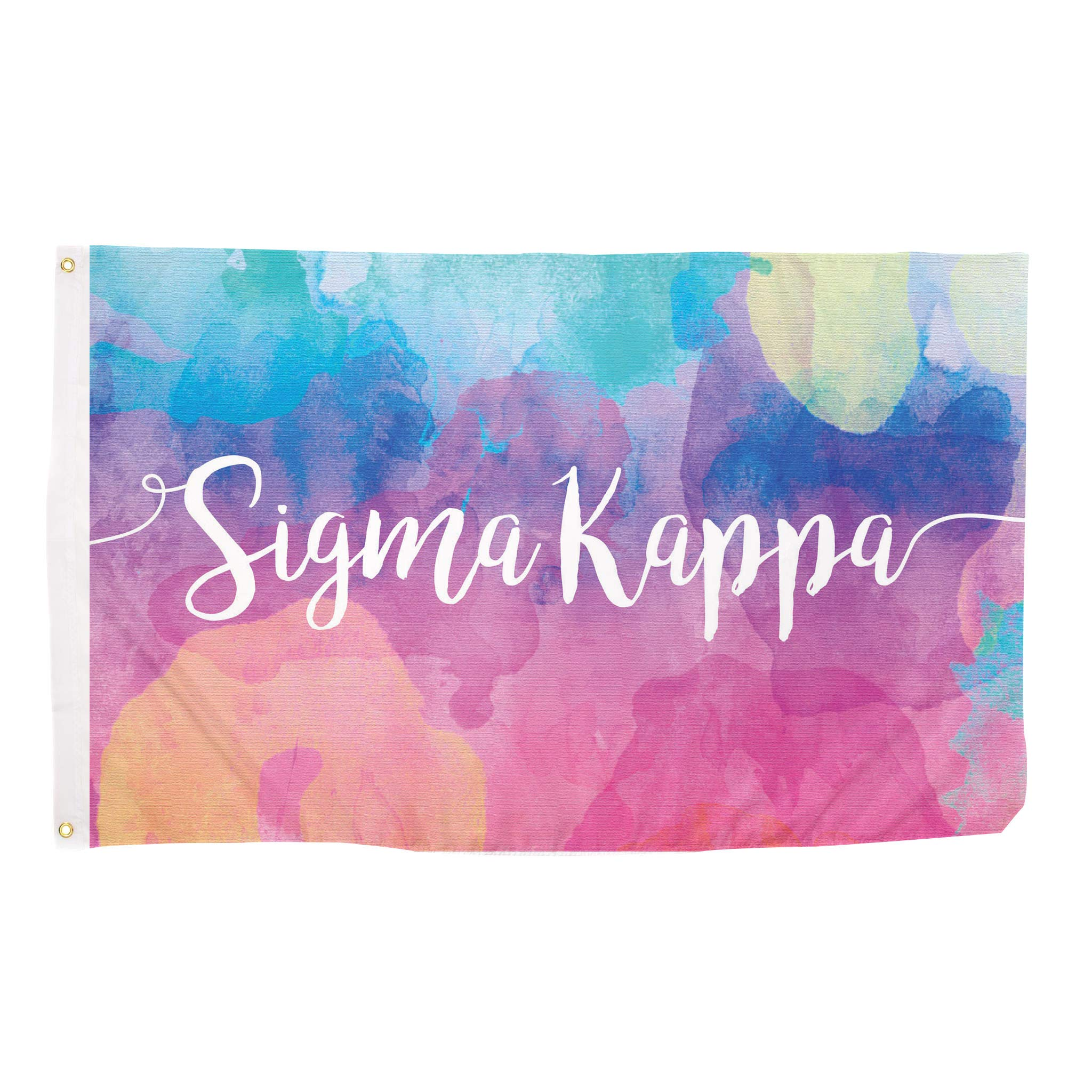 Sigma Kappa Water Color Sorority Flag Greek Letter Use as a Banner Large 3 x 5 Feet Sign Decor Sig Kap by Desert Cactus