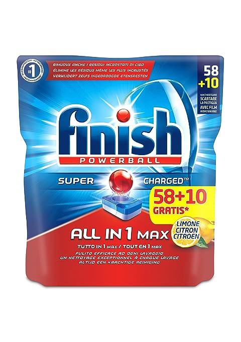 102 opinioni per Finish Tutto in Uno Max Detergente 58+10 Tabs, Lemon, 1265 gr