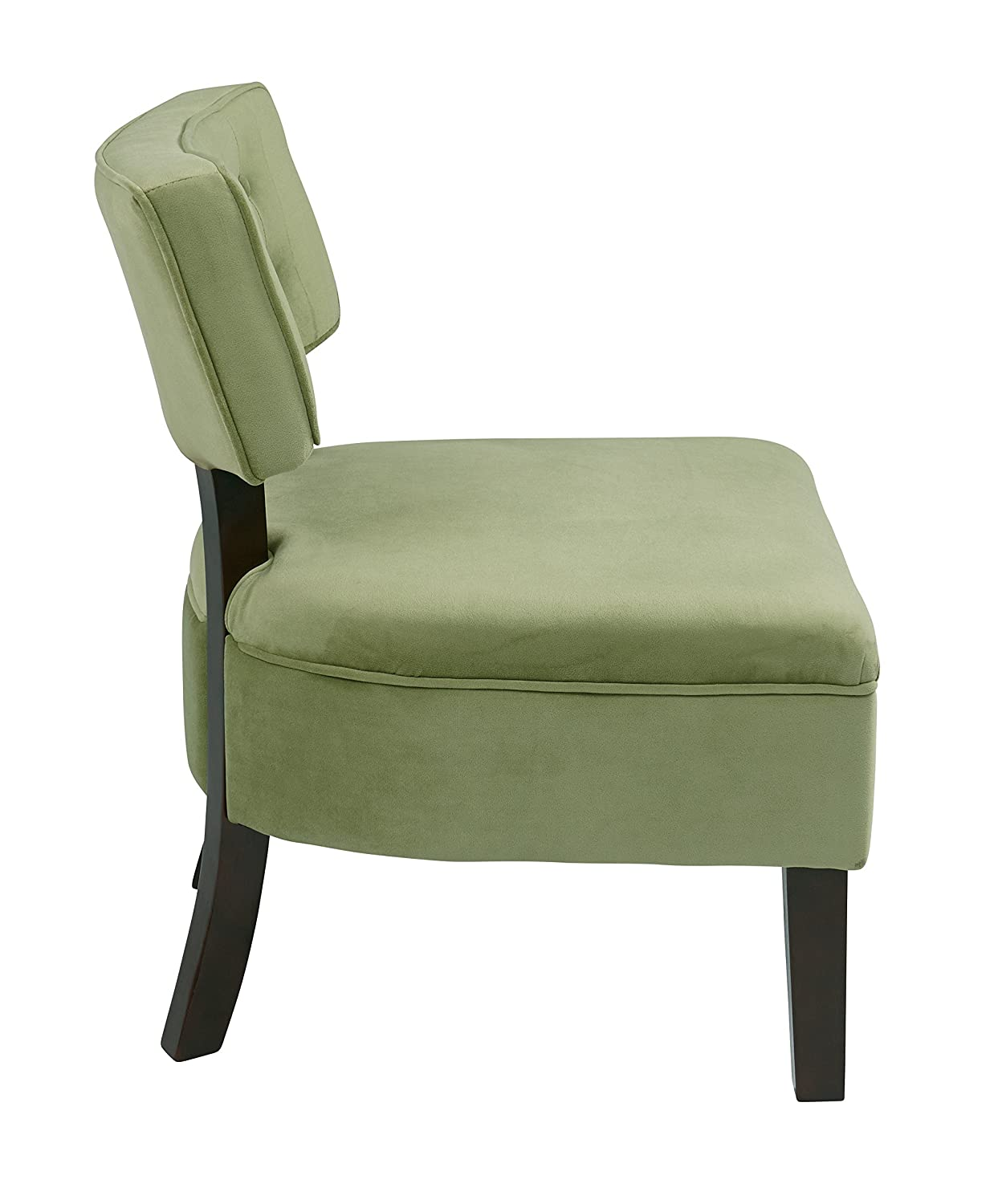 AVE SIX Curves Upholstered Button Accent Chair with Espresso Finish Wood Legs and Back Supports, Spring Green Velvet