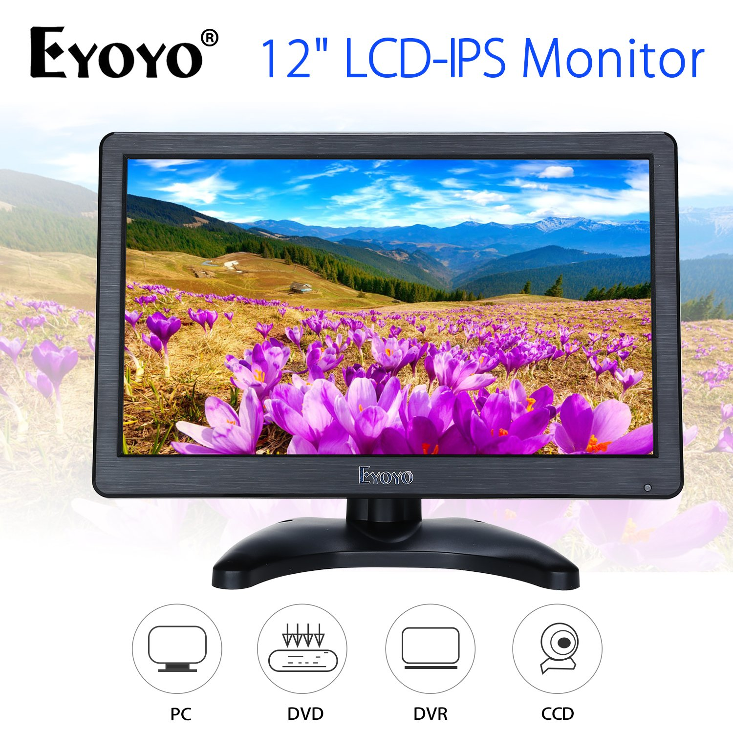 Eyoyo 12 inch HD 1920x1080 IPS LCD HDMI Monitor Screen Input Audio Video Display with BNC Cable for PC Computer Camera DVD Security CCTV DVR Home Office Surveillance by Eyoyo