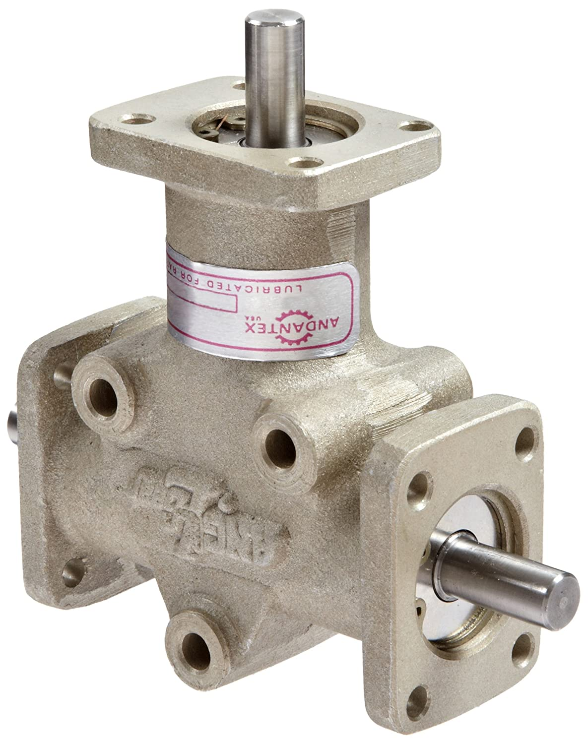 Image of Andantex R3103M Anglgear Right Angle Bevel Gear Drive, Universal Mounting, Two Output Shafts, 3 Flanges, Metric, 8mm Shaft Diameter, 1:1 Ratio.41 kW at 1750rpm Gearheads & Speed Reducers
