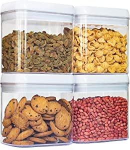 4PCS Airtight Food Storage Containers with lids, Stackable Kitchen & Pantry Storage Containers, Plastic Dry Food Containers, Brown Sugar Keeper, BPA-Free, 1.4L