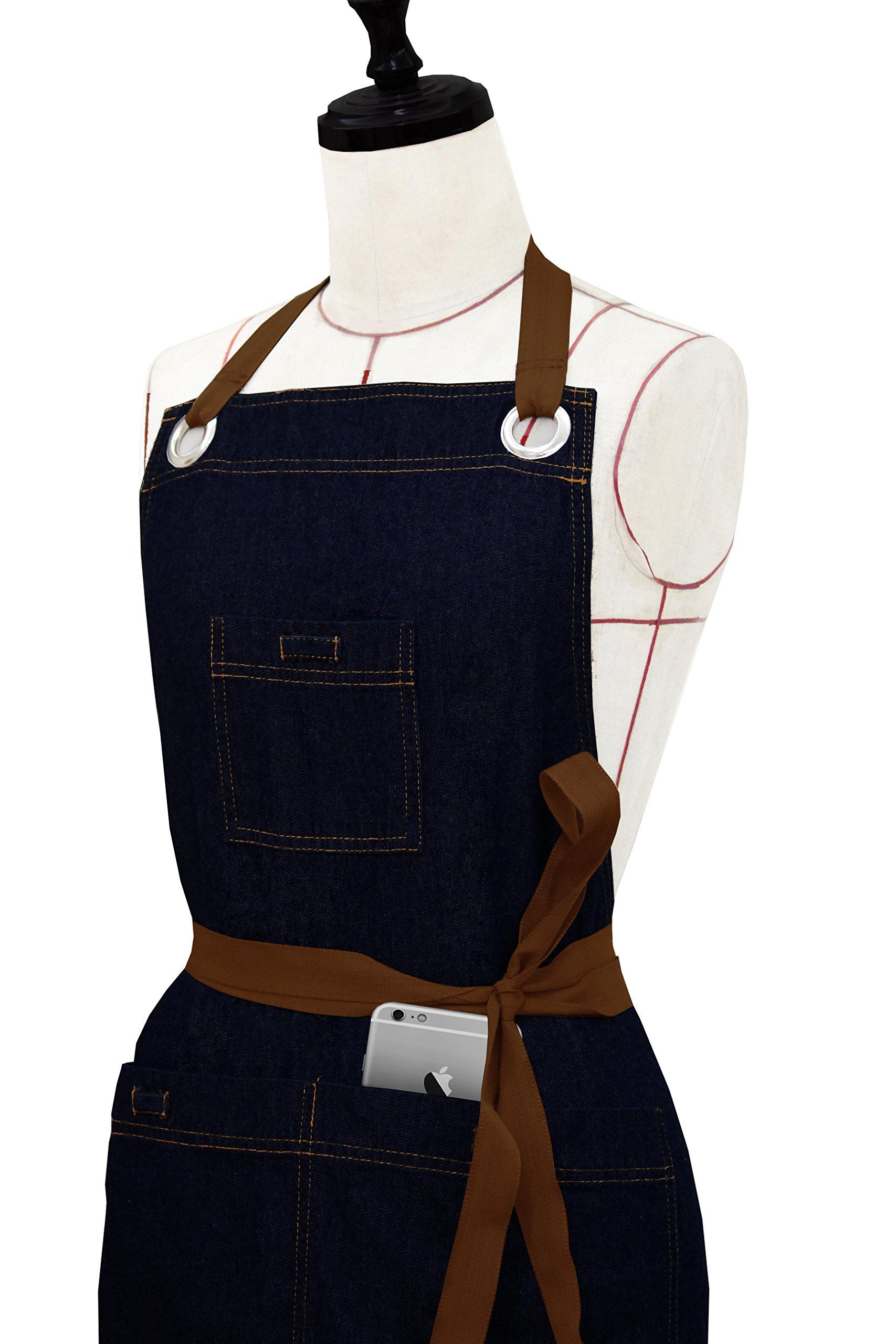 Milano Home Denim Professional Apron for Men & Women with Adjustable Neck Towel Holder & Patch Pockets Perfect for Cooking BBQ Baking Full in Length (Denim & Brown) by Milano Home USA