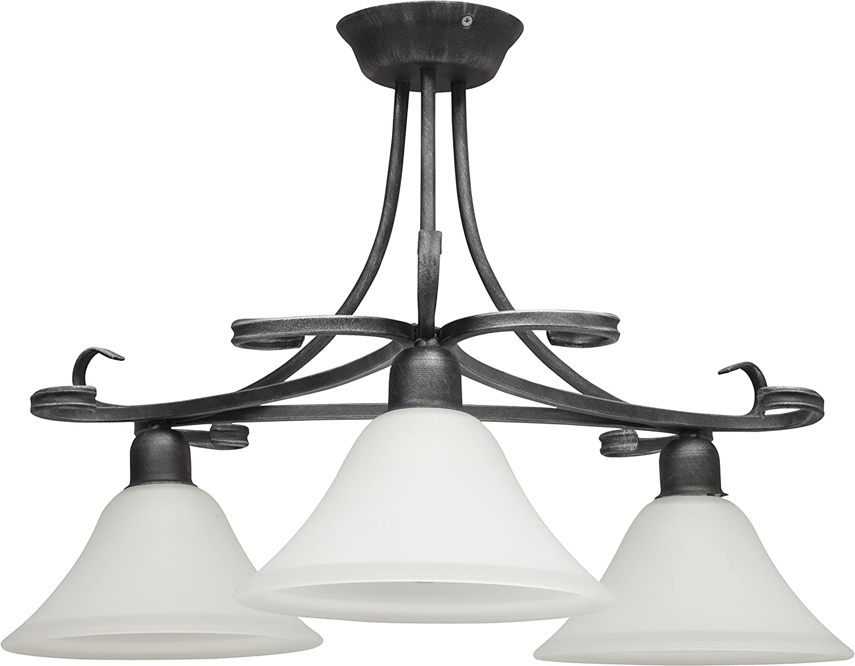 Deckenleuchte klassisch grau   3-flammig   E27 bis 60W 230V   Lampe aus Metall & Glas Wohnzimmer Deckenlampe Glas dekorative Leuchte Schlafzimmer Beleuchtung Gästezimmer