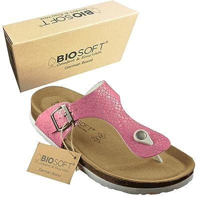 BIOSOFT Damen Sandale Lisa (F14) Frauen Freizeit Schuh  Zehentrenner  Sandalette mit Verstellbarem Riemchen...