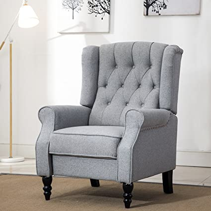 ComHoma Tufted Wingback Recliner Classic Armchair Elizabeth Queen Style  Fabric Club Chair Grey