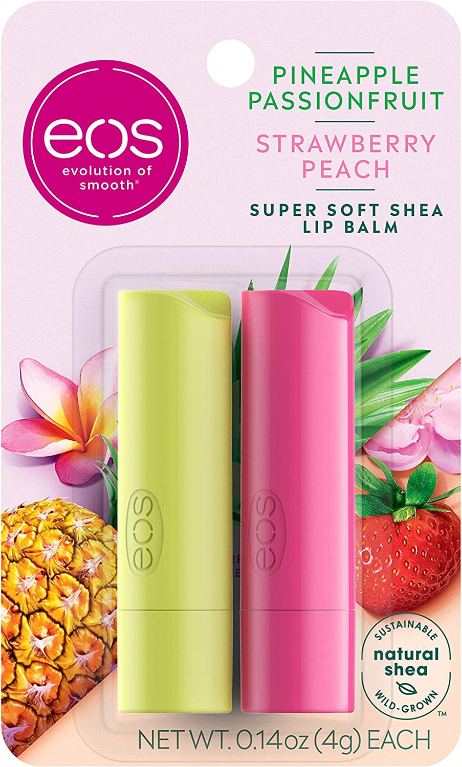 eos Super Soft Shea Stick Lip Balm - Strawberry Peach and Pineapple Passionfruit | Deeply Hydrates and Seals in Moisture | Sustainably-Sourced Ingredients | 0.14 oz | 2-Pack