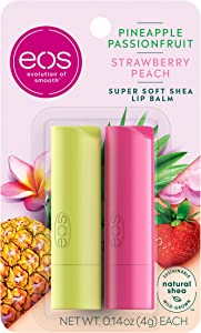 eos Super Soft Shea Stick Lip Balm - Strawberry Peach and Pineapple Passionfruit   Deeply Hydrates and Seals in Moisture   Sustainably-Sourced Ingredients   0.14 oz   2-Pack