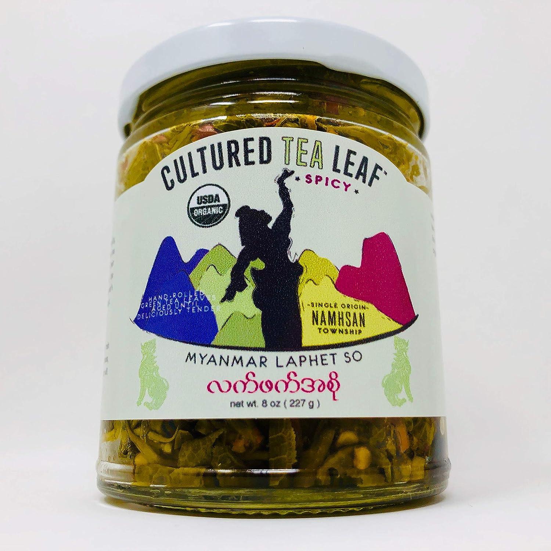 USDA Certified Organic 'Laphet So' EDIBLE TEA LEAF DELICACY hand-made with Extra Virgin Olive Oil--Cultured Tea Leaf brand--Burmese ORIGINAL SPICY (Vegan, Gluten-free, Keto, Paleo) Myanmar Burma