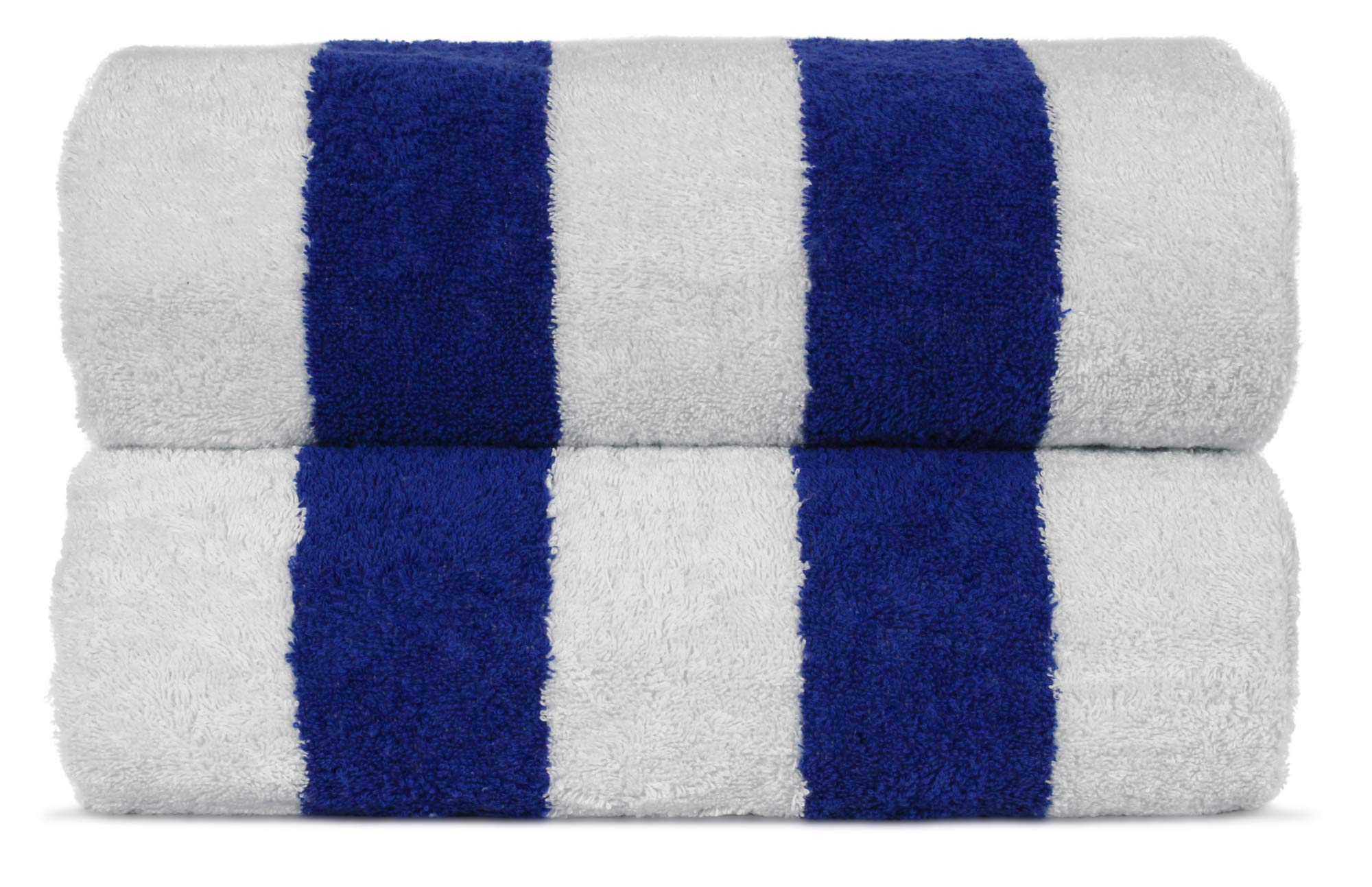 Premium Quality Extra Large Hotel and Spa 2-Piece Beach Towels, Pool Towels with Cabana Stripe, Eco-Friendly, Turkish Cotton (Royal Blue, 35x65 inches)