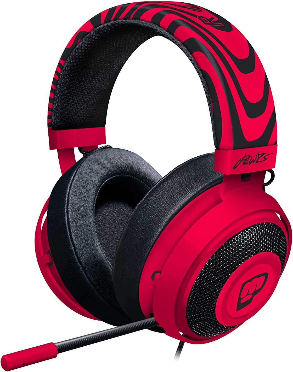 Razer Kraken Pro V2: Lightweight Aluminum Headband - Retractable Mic - In-Line Remote - Gaming Headset Works with PC, PS4, Xbox One, Switch, & Mobile Devices - Pewdiepie Edition - RZ04-02050800-R3M1