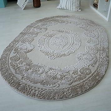 mynes Teppiche Wohnzimmer Beige & Grau Kurzflor mit Medaillon Muster  Designer Teppich hochwertig Vintage-Style in versch. Größen [Art 4204]  (Oval - ...