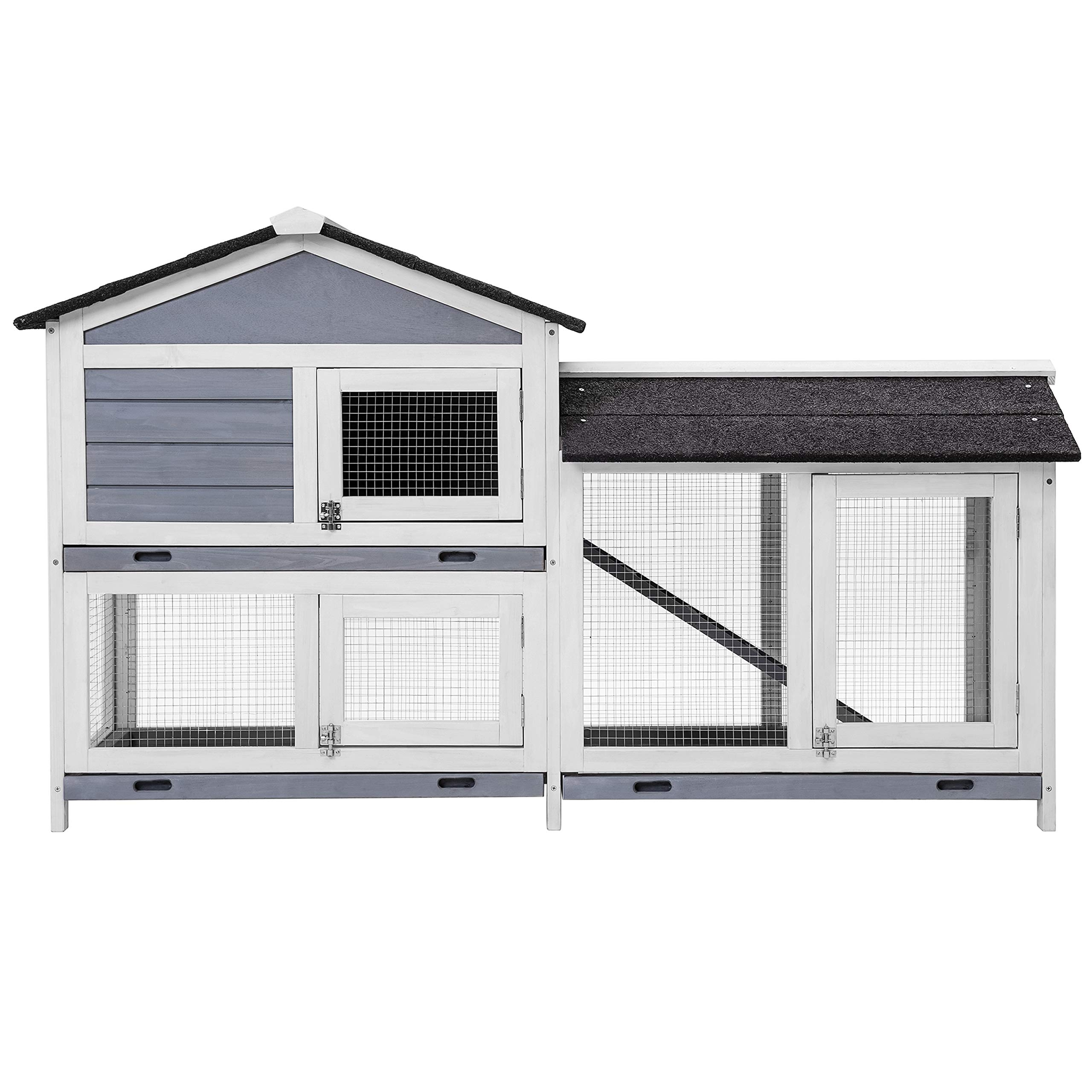 Purlove Pet Rabbit Hutch Wooden Bunny Cage Small Animals House for Outdoor/Indoor Use by PURLOVE