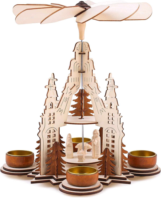 4 Bougeoirs en M/étal BRUBAKER Bois Naturel Joseph et J/ésus 2 /Étages Pyramide de No/ël Figurines sculpt/ées Con/çu pour Bougies Chauffe-Plat Marie Hauteur 29 cm