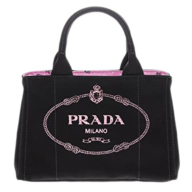 d83005f939d9 Amazon.com  Prada Canapa Small Garden Tote Bag Black + Pink  Clothing