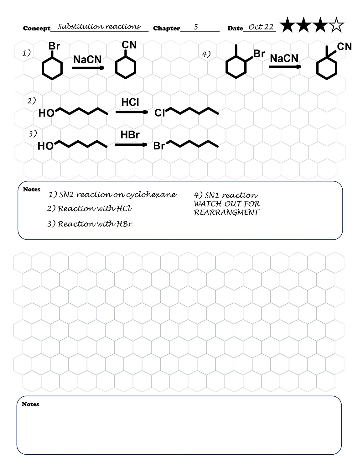 Organic Chemistry Notebook Hexagonal graph paper for notes and two organic chem eBooks Faster and easier organic chemistry notes reactions and structures.