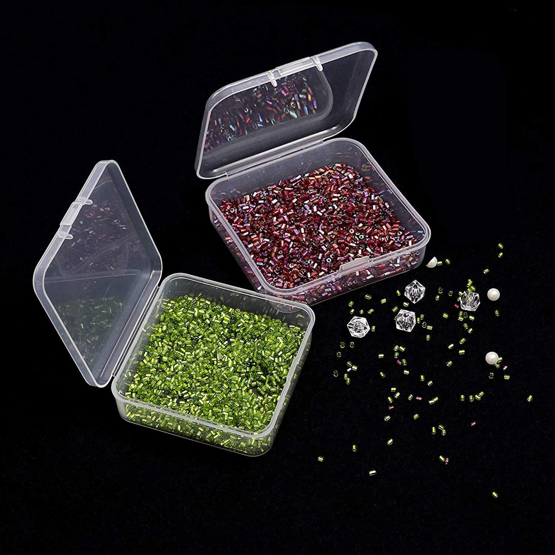 Transparente Mini Cajas Plastico Organizador/con Tapas para Cuentas Peque/ñas Joyer/ía Hallazgos y m/ás Pastillas 24 Pack Caja de Contenedores Cuadrado de Almacenamiento de Pl/ástico 7,2cm x 7,2cm
