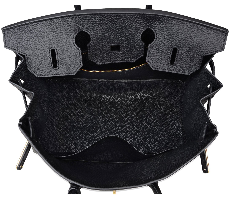 Cherish Kiss Women's Classic Genuine Leather Tote Padlock Handbags H35 (35CM, Black) by Cherish Kiss (Image #6)