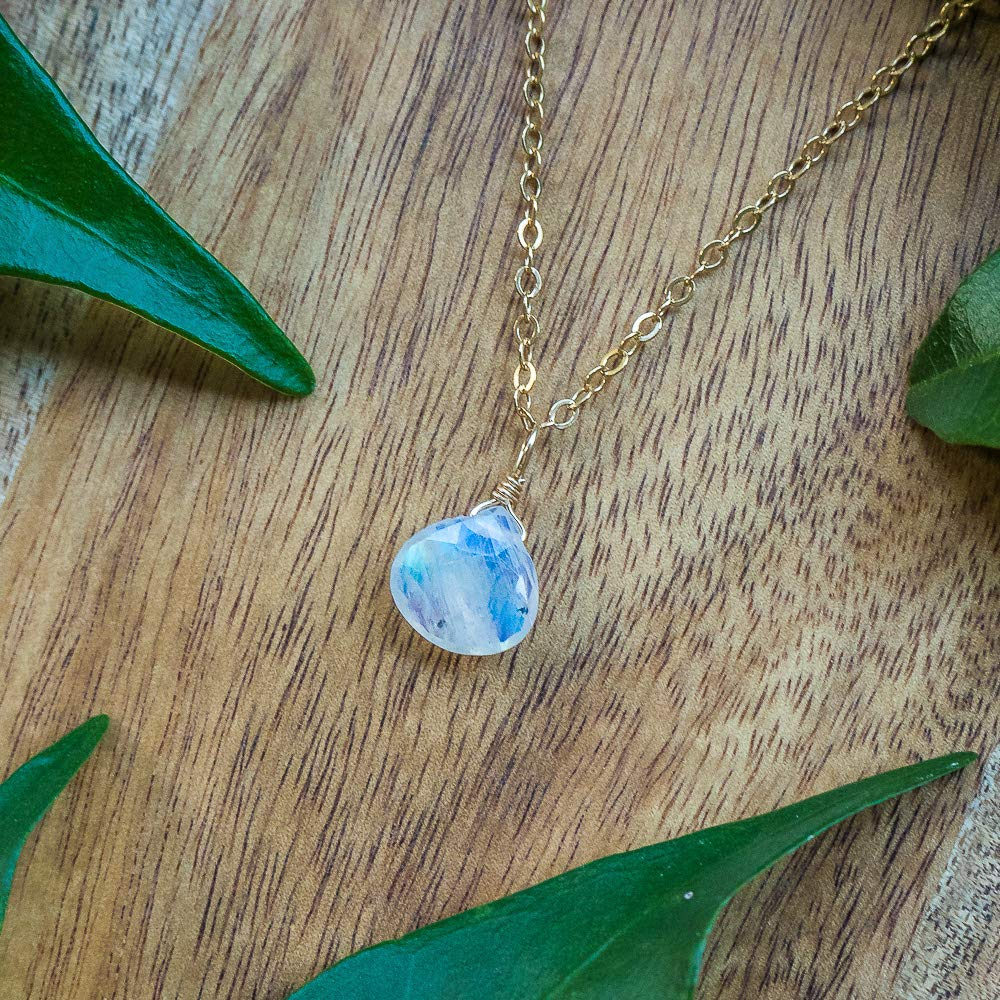 gold or rose gold silver Tiny moonstone teardrop necklace in bronze 16 chain with 2 extender June birthstone