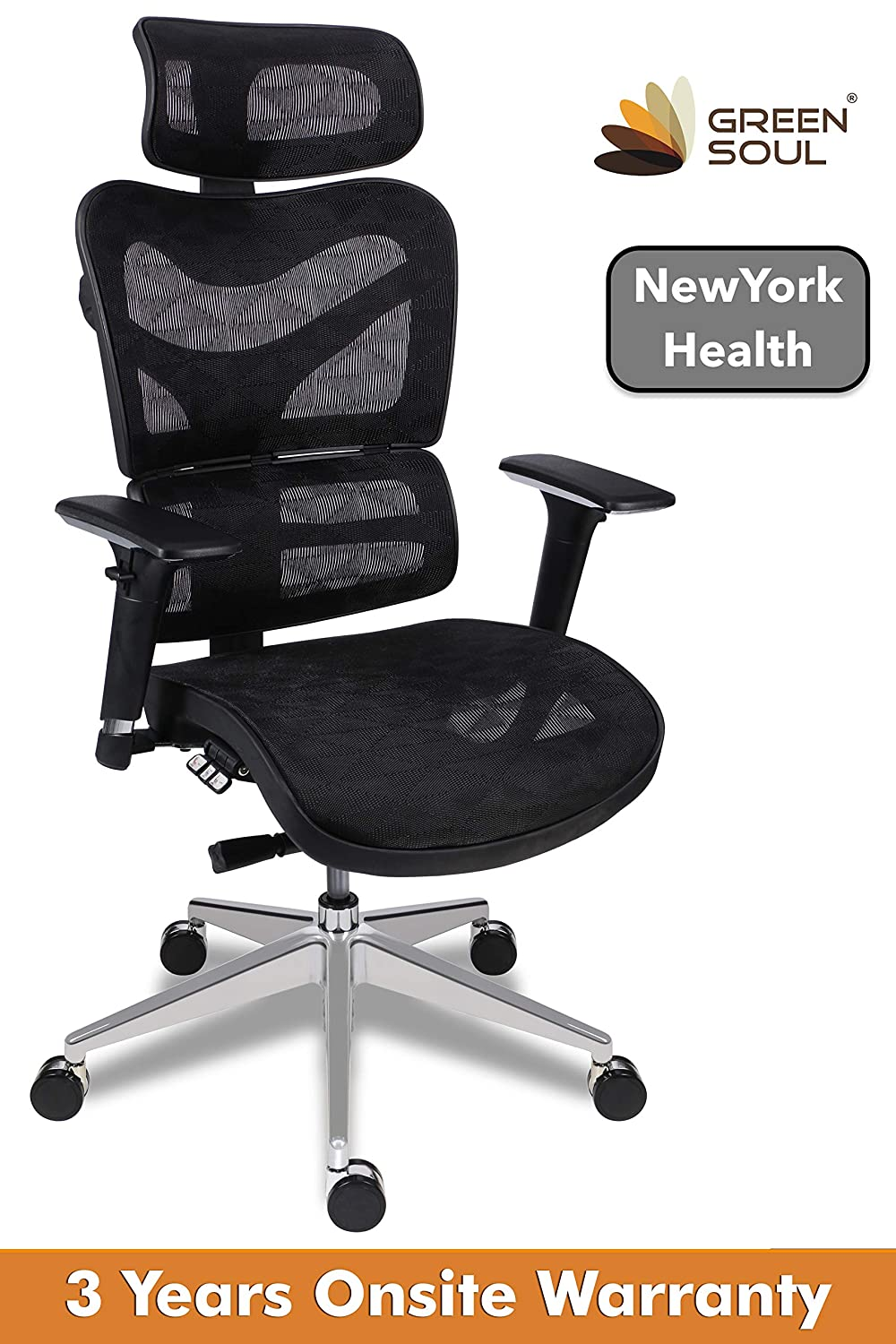 Greensoul New York Health High Back Mesh Office Chair (Black)