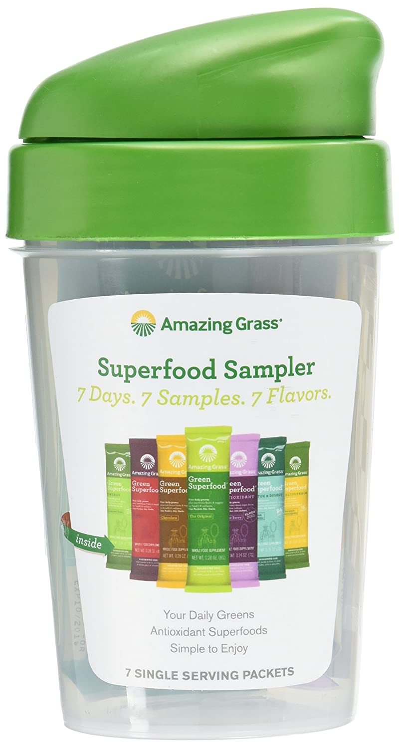 Amazing Grass Green Superfood Sampler: Super Greens Powder with Spirulina, Digestive Enzymes & Probiotics, 7 Flavors + Shaker Bottle