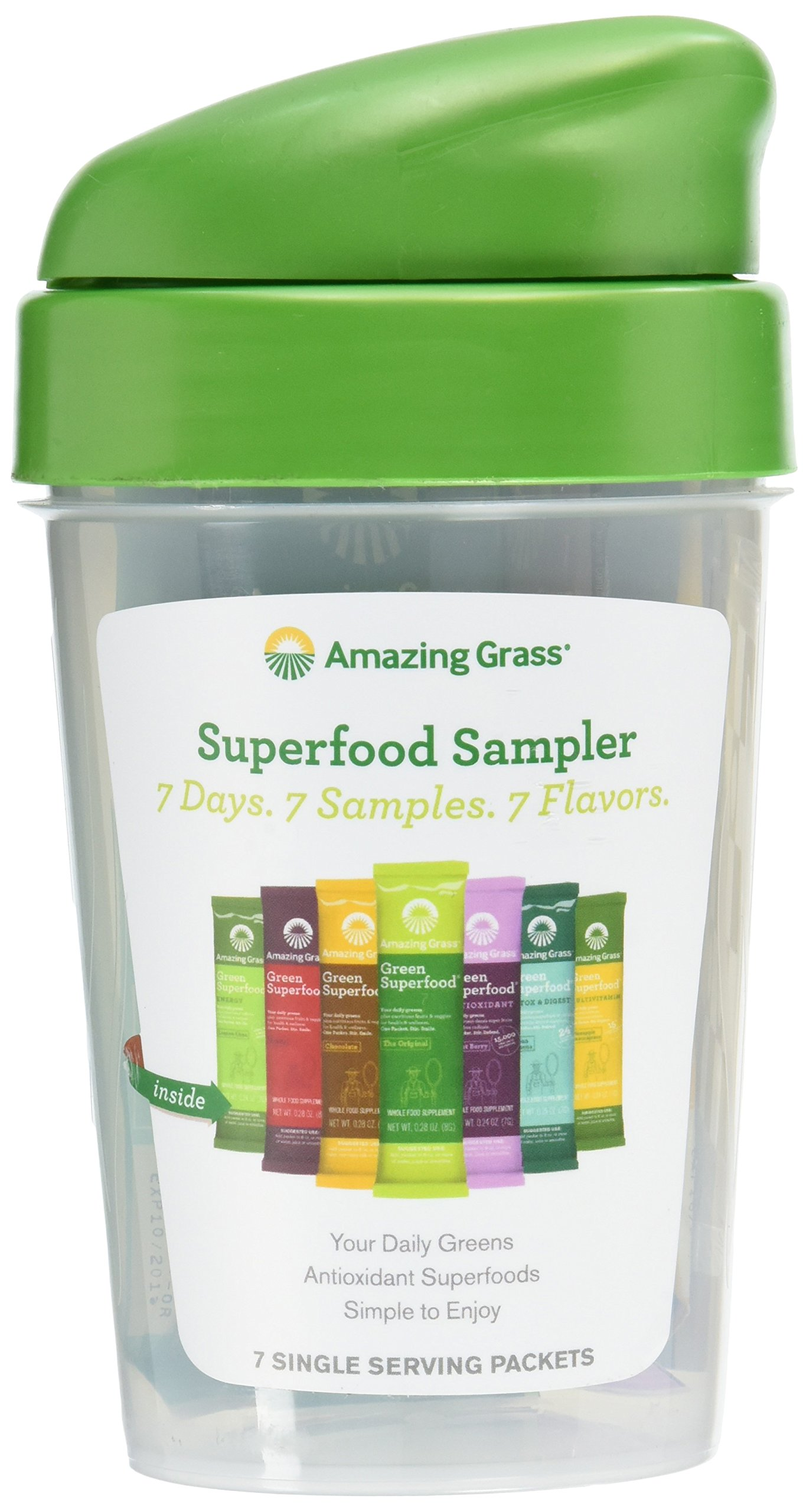 Amazing Grass Shaker Cup and 7 Flavors Of Green Superfood Packets, Pack of 7