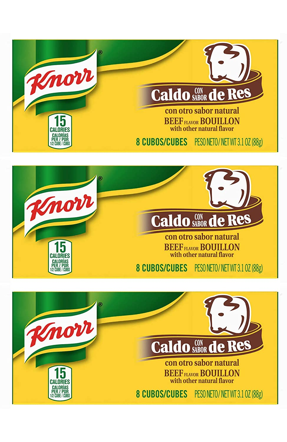 Knorr Beef Flavor Bouillon Cubes 8 Count Box - 3 Pack (Beef)