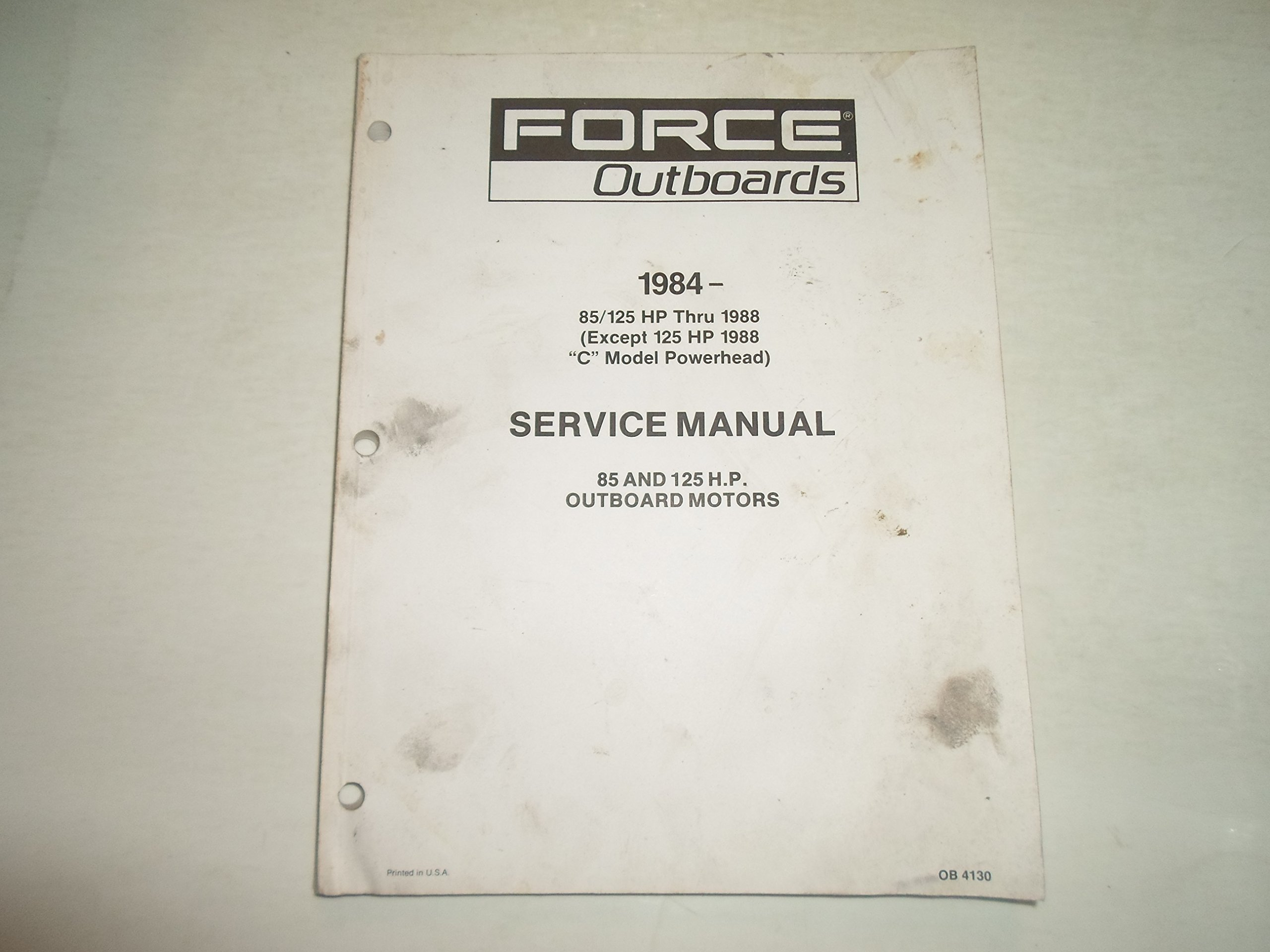1984 1988 Force Outboards 85 125 HP Motors Service Repair Manual WATER  DAMAGED: FORCE OUTBOARDS: Amazon.com: Books