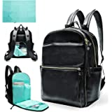 Diaper Bag Backpack Mominside Leather Diaper Bag with 6 Insulated Pockets for Mom Dad Baby Bag for Boys Girls, Changing Stati