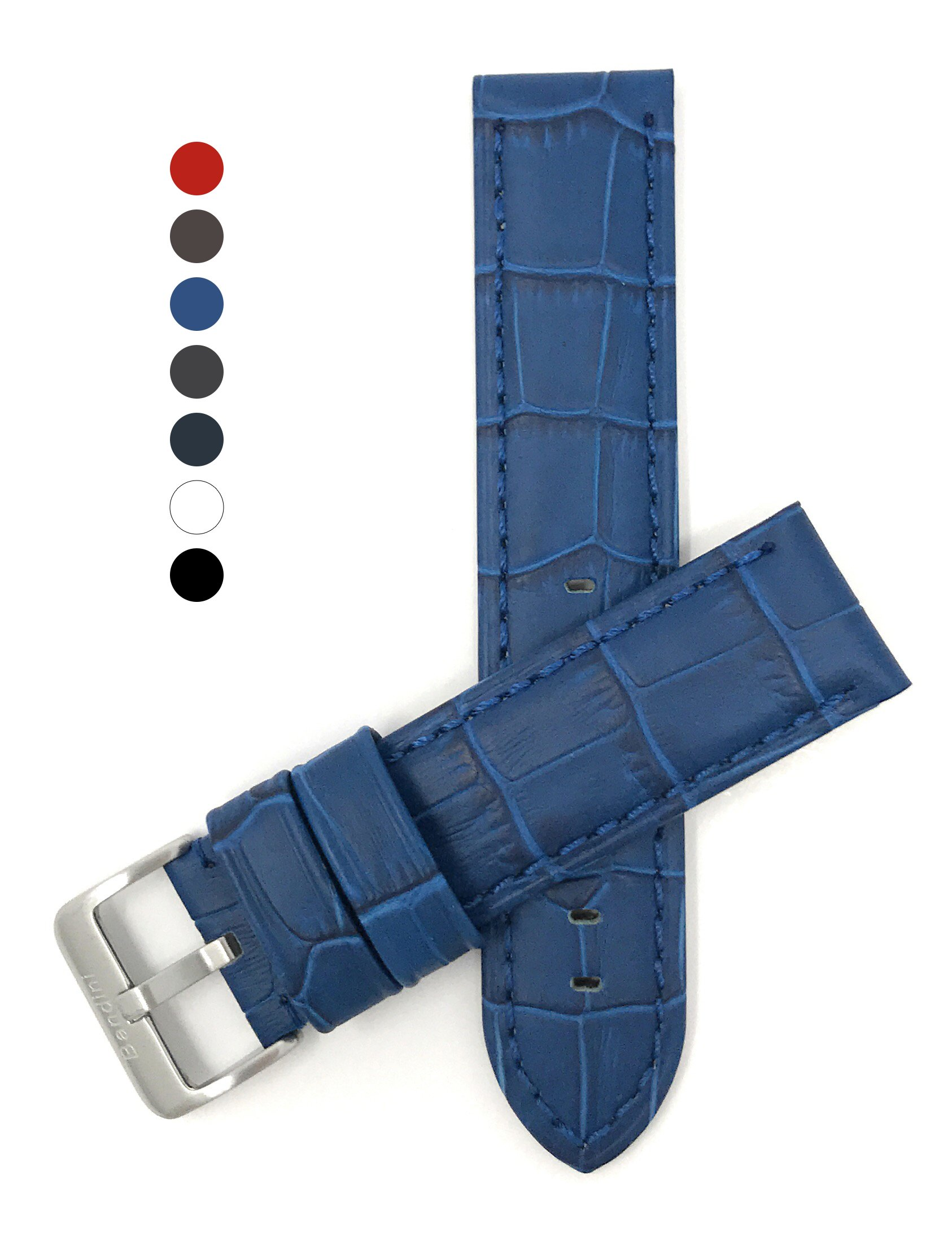 22mm Royal Blue Mens Waterproof, Alligator Style Leather Watch Band Strap, Mat