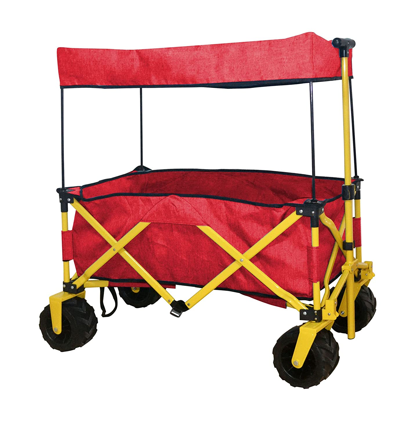 WagonBuddy Compact Folded Jumbo Wheel RED Folding Wagon All Purpose Garden Utility Beach Shopping Travel CART Outdoor Sport Collapsible with Canopy Cover – Easy Setup NO Tool Necessary – Space Saver