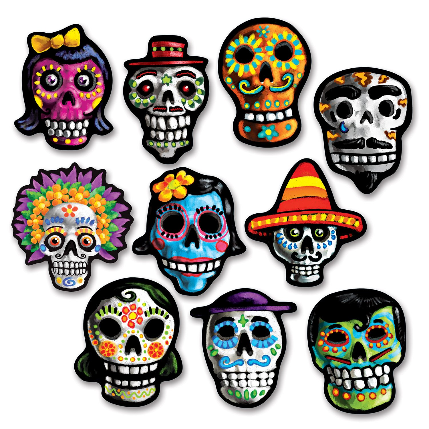 Day Of The Dead  >> Amazon Com Beistle Day Of The Dead Cutouts Childrens Party