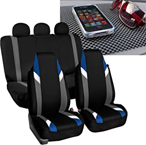 FH Group FB133115 Full Set- Premium Modernistic Seat Covers Blue/Black with FH1002 Non-Slip Dash Pad- Fit Most Car, Truck, SUV, or Van
