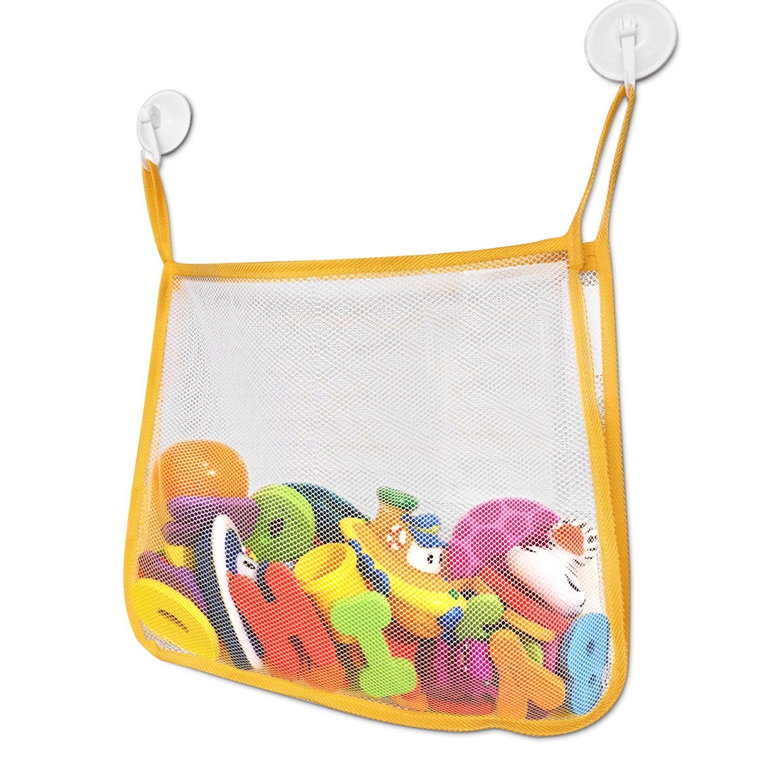 Bath Toy Organizer Set - Large Mesh Bath Toy Net with 2 Strong Suction Cups For Smooth Surfaces - Keep Your Kid's Bath Tub Toys Dry and Off of the Bathtub and Bathroom Floor - Great For Showers