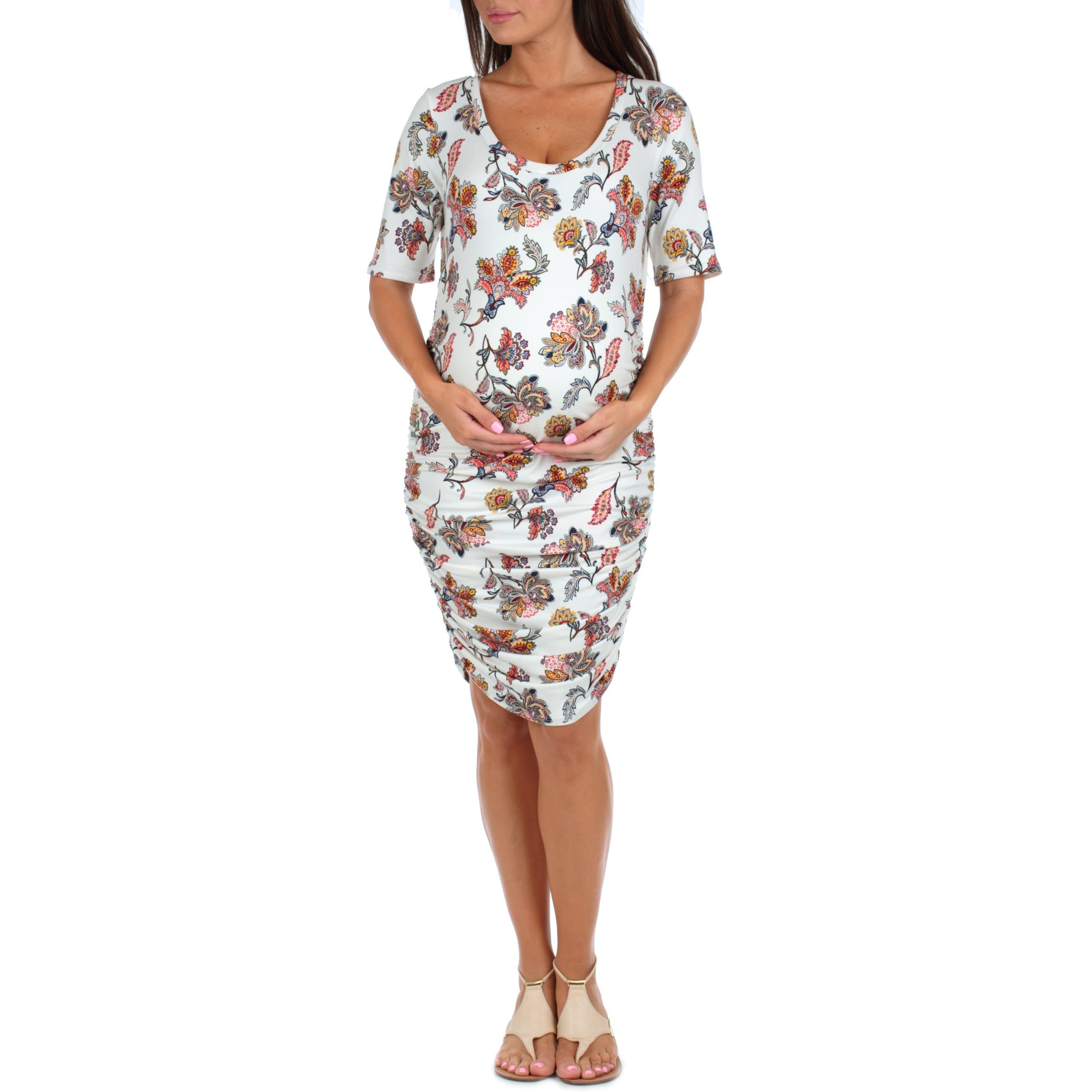 Women's Maternity Ruched Dress by Mother Bee in regular and Plus sizes