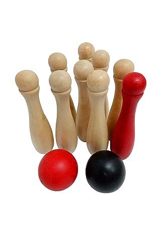 11pcs Juego De Bolos De Madera Para Jugar A Los Bolos Juegos De