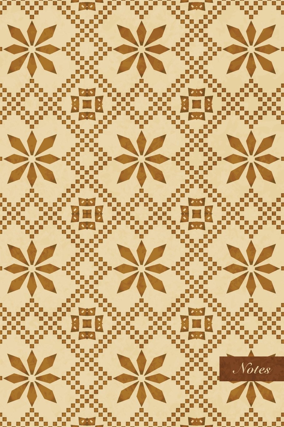 "Download Notes: 6""x9"" Unruled Blank Notebook - Mosaic Pixel Geometry Check Cross Frame Chain Flower - Retro Brown Worn Out Vintage Seamless Pattern Cover. Matte Softcover And Cream Interior Papers. PDF"