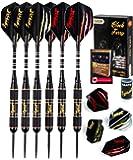 IgnatGames Steel Tip Darts Set - Professional Darts with Aluminum Shafts, Rubber O'Rings, and Extra Flights + Dart Sharpener + Innovative Case + Darts Guide